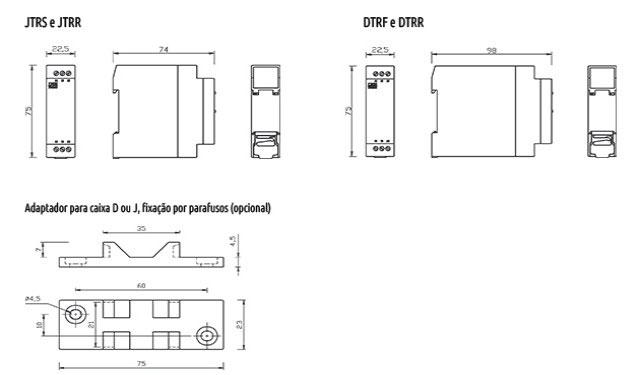 temporizadores-para-reversao-de-motores-tipo-jtrf-jtrr-dtrf-e-dtrr-dimensoes